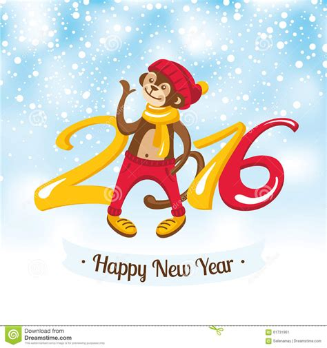 new year greetings monkey new year greeting card with monkey stock vector