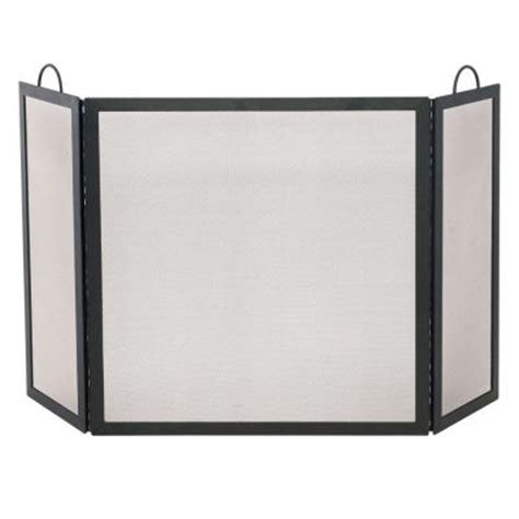 fireplace screen home depot uniflame black wrought iron 3 panel fireplace screen medium s 1504 the home depot