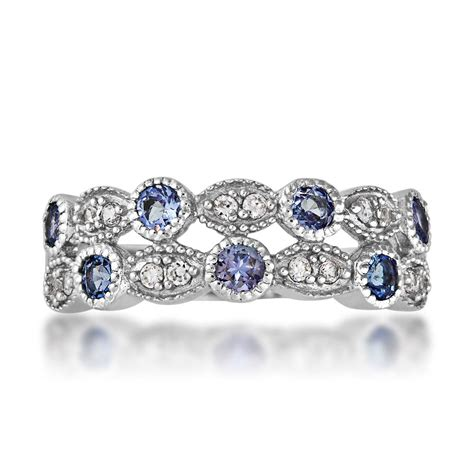 tanzanite and white zircon stackable ring in sterling
