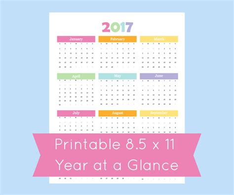 year at a glance calendar template year at a glance 2017 calendar 2017 printable by commandcenter