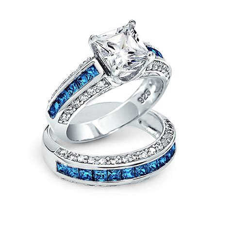 Wedding Ring Princess Cut by Princess Cut Cz 3 Sided Engagement Wedding Ring Set 925 Silver