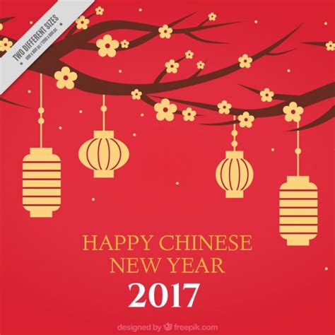 new year flower free vector new year background with flowers and lanterns