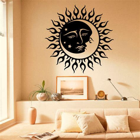 moon and stars bedroom decor wall decals vinyl stickers sun moon from fabwalldecals on etsy
