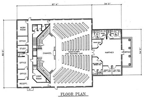 How Large Is 500 Square Feet by Church Plan 133 Lth Steel Structures