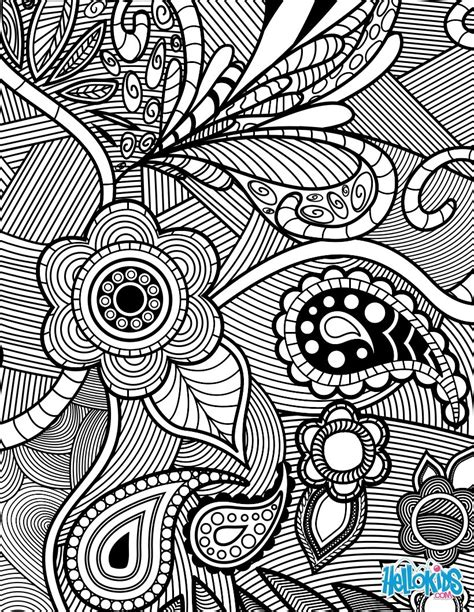 coloring book page designs flowers paisley design coloring pages hellokids com