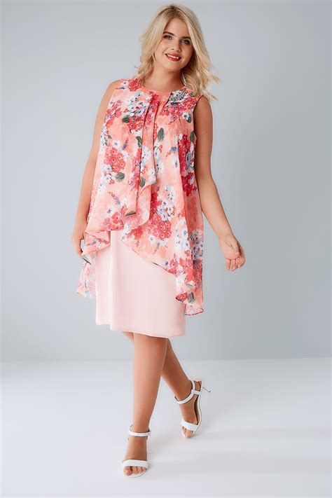 Pink Layered Dress by Pink Coral Floral Printed Dress With Layered Front
