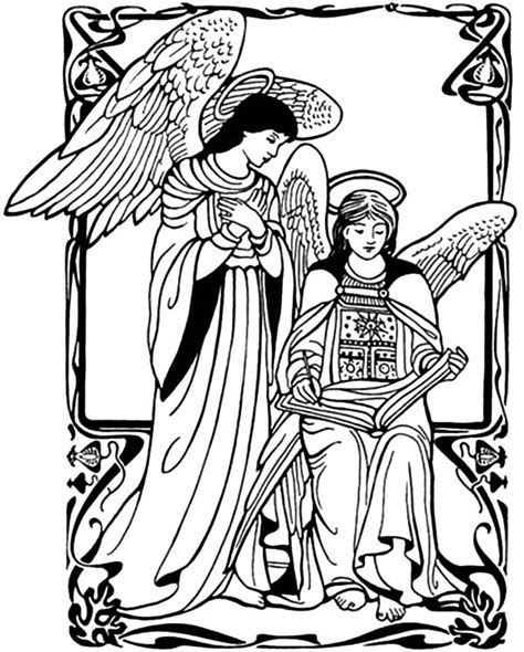 angel appears to mary coloring page sketch coloring page