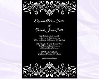 35 Blank Black And White Wedding Invitation Templates Wedding Cards Black And White Invitation Template