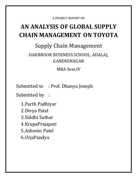 Supply Chain Management Notes For Mba Students by Toyota Supply Chain Management
