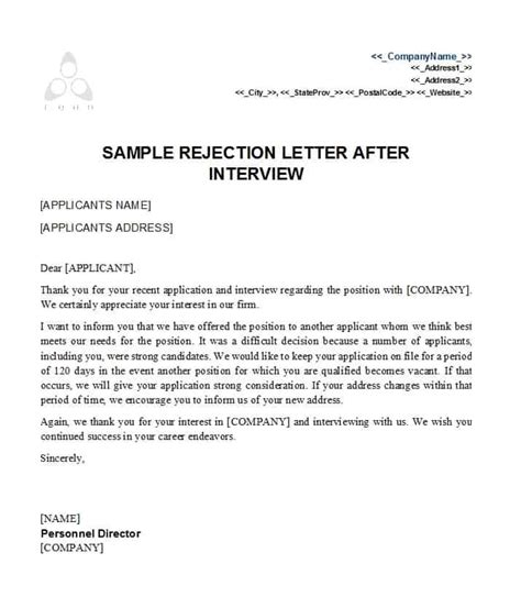39 Job Rejection Letter Templates Sles ᐅ Template Lab Rejection Email Template