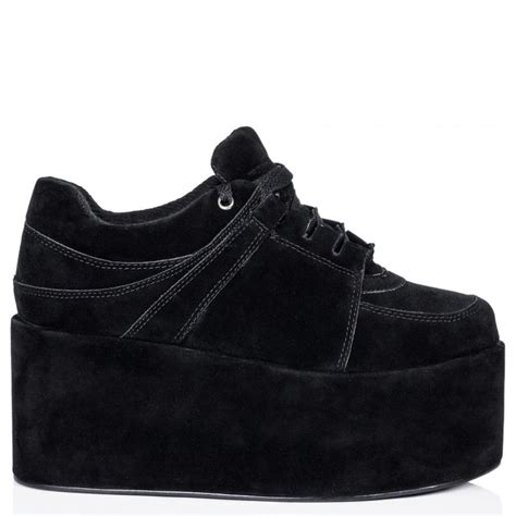 black suede style flatform shoes buy black suede style