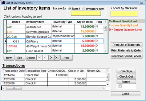 At This Window You Can Track All Of Your Inventory And See The Levels Of Each Item You Are Tracking