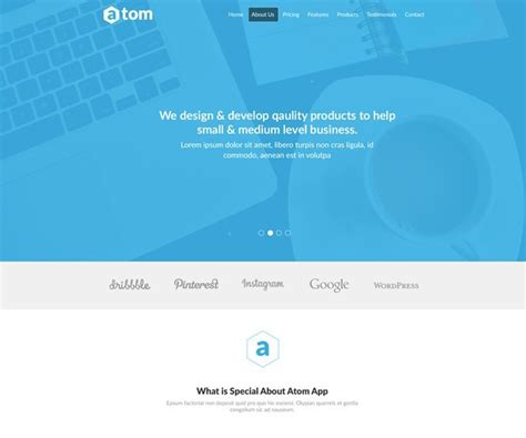 Free Atom Simple Clean Landing Page Template Psd Titanui Simple Landing Page Template