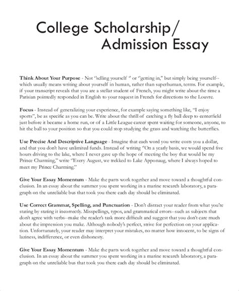 Scholarship Essay Exles For Nursing Sle Scholarship Essay 7 Documents In Pdf Word