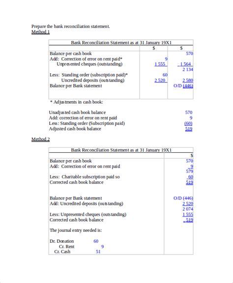 bank reconciliation exle 7 sles in word pdf excel