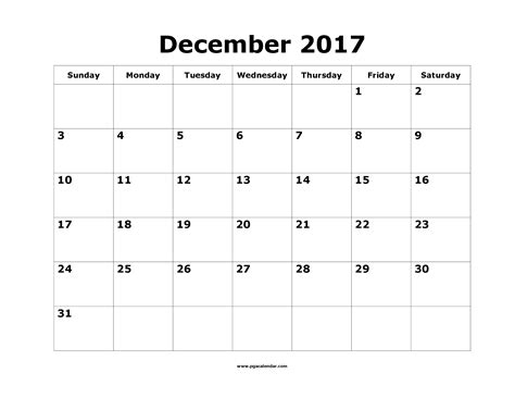 Calendar 2017 Template December Printable December 2017 Calendar Template