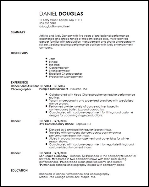 Sample Resume Templates Entry Level by Free Creative Dancer Resume Template Resumenow