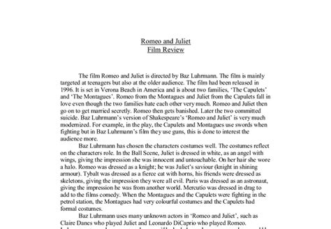 gladiator film review gcse romeo and juliet film review gcse english marked by