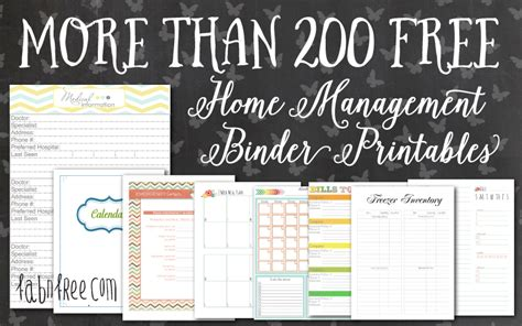 free printable household notebook planner pages more than 200 free home management binder printables fab