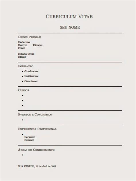 Modelo De Curriculum Vitae Simple Para Completar E Imprimir Curriculum Pronto Para Preencher E Imprimir Toda Atual