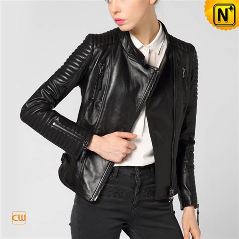 womens leather motorcycle jacket black leather biker jacket for women cw650022