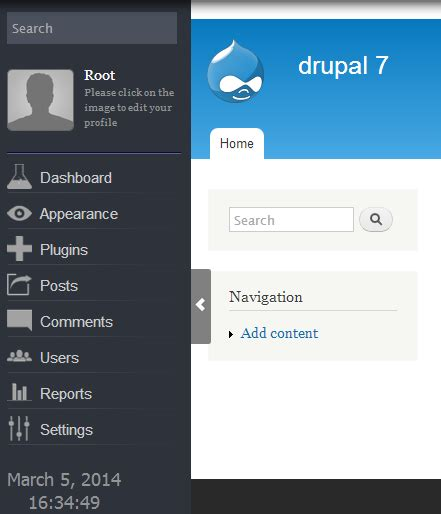drupal theme user menu user navigation drupal org
