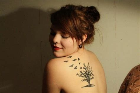 bird tree tattoo tree and flying birds shoulder my style