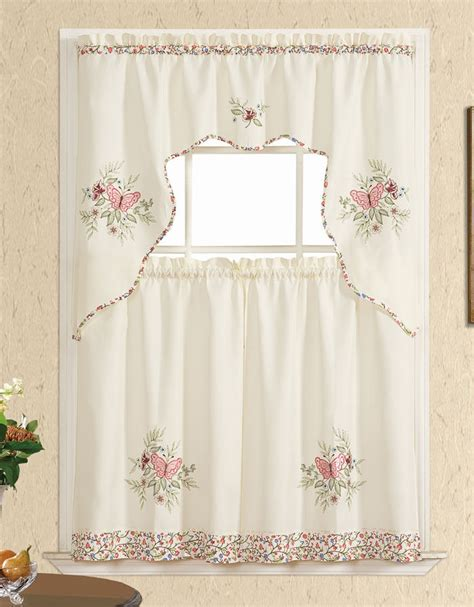 rose pink curtains stay with me 3pcs kitchen curtain set nice applique