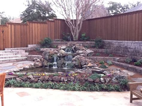 retention pond in backyard sloping backyard waterfall with 3 tier retention wall