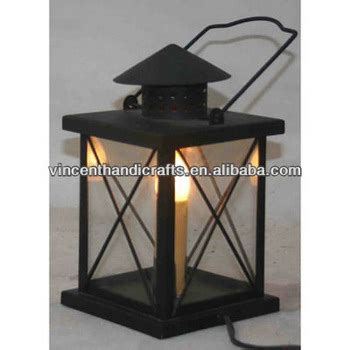 rustic classic black metal hurricane lantern with electric