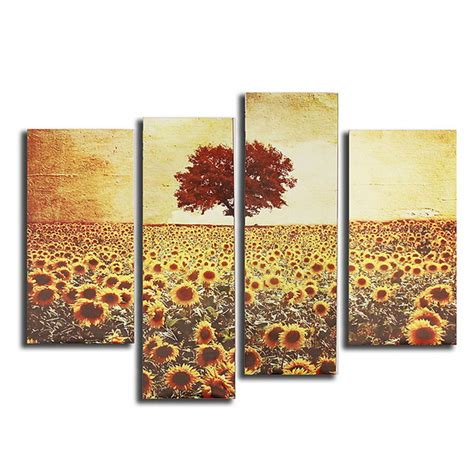 canvas painting for home decoration 4pcs frameless oil painting sunflower canvas modern wall