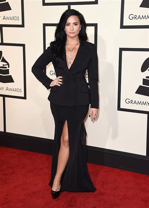 goes at the grammys demi lovato s dress at grammys 2016 goes in black