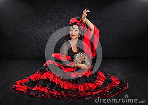 Flamenco Floor by Photogenic Dancer Sits On Stage Stock Photo