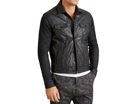 leather jacket with knit sleeves varvatos knit sleeve leather jacket in black for