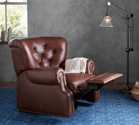pottery barn lansing leather recliner lansing leather swivel armchair pottery barn
