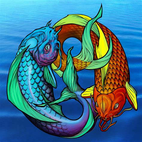 koi fish pisces tattoo design a wolf illustrations blog koi fish pisces ying yang