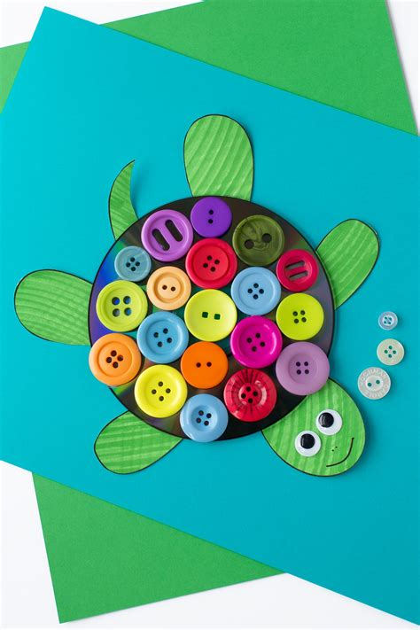and crafts for toddlers colorful cd button turtle craft for