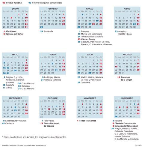 Calendario Actual 2016 Festivos El Calendario Laboral De 2016 Ya Es Oficial