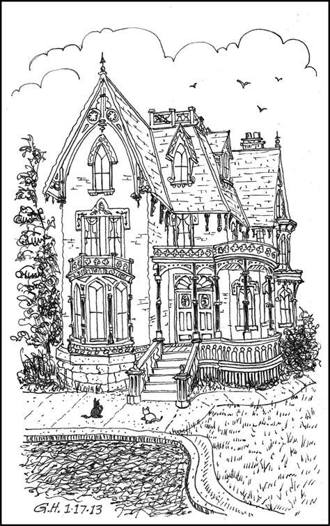 coloring pages for adults houses icolor quot architecture quot victorian loose line 1177x1895