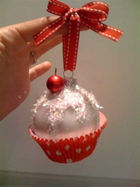 styrofoam cupcake ornament cupcake ornament all you need is foam balls glitter ribbons paint and cupcake