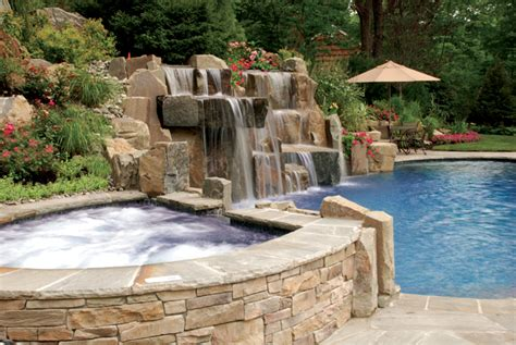 Backyard Swimming Pools Waterfalls Natural Landscaping Nj Best Backyard Pool Designs