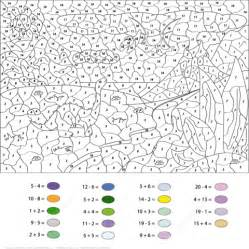 printable color by number pterodactyl and diplodocus color by number coloring page