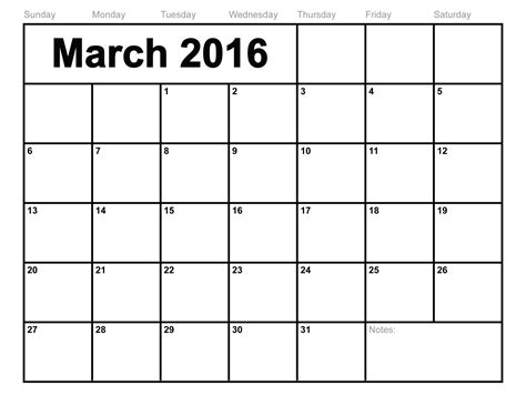 monthly calendar template printable march 2016 calendar printable template 8 templates