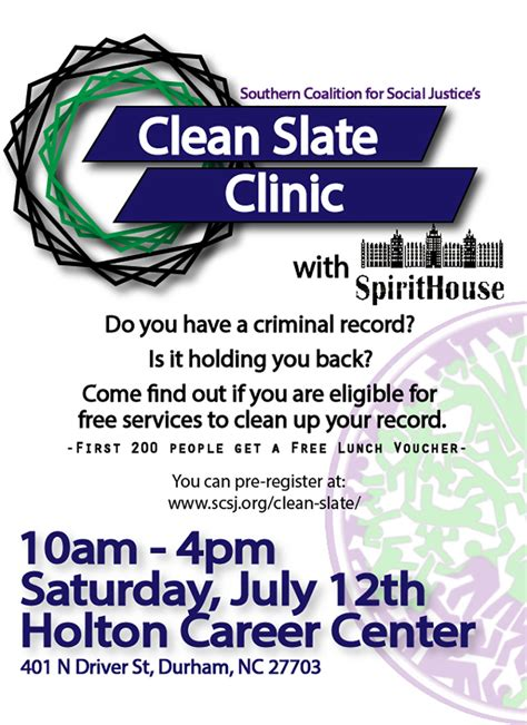 Is It Possible To Clear Your Criminal Record Clean Slate Clinic July 12 2014 Southern Coalition For Social Justice