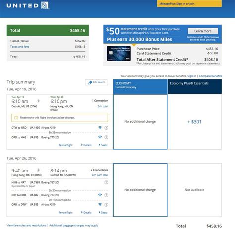 united airlines booking under 500 minneapolis detroit to hong kong r t