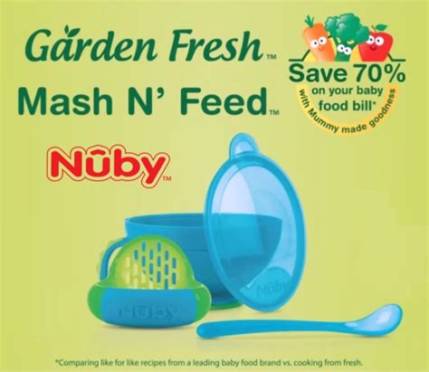 Nuby Garden Fresh Fruit Veggie Press Food Maker nuby mash n feed garden fresh solid mangkok tumbuk