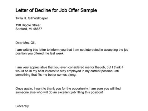 Letter Of Declining A Offer letter of decline