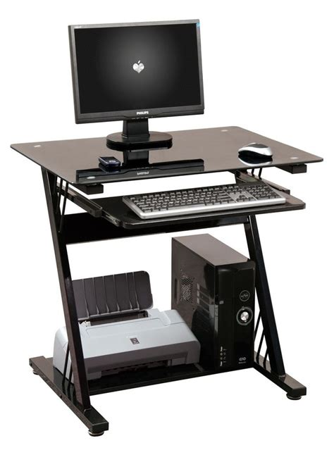 Computer Desk Table Computer Desk Pc Table Home Office Furniture Black Glass Sliding Keyboard Shelf Ebay
