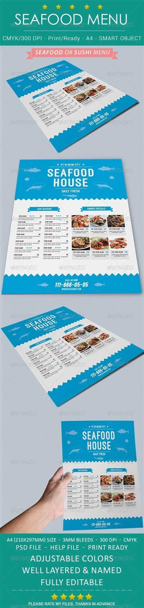 Seafood Sushi Restaurant Menu By Unionmedia Graphicriver Seafood Menu Template