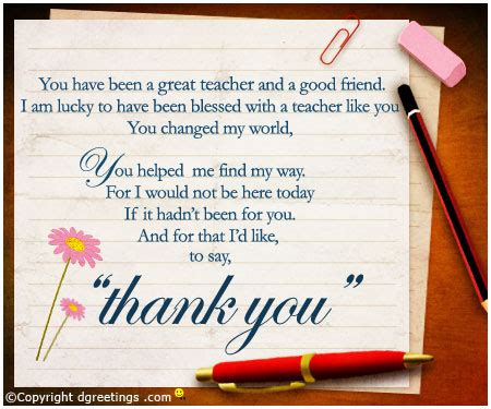 cards from teachers to students thank you card